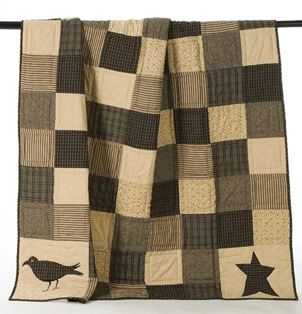 Kettle Grove Crow and Star Quilted Throw