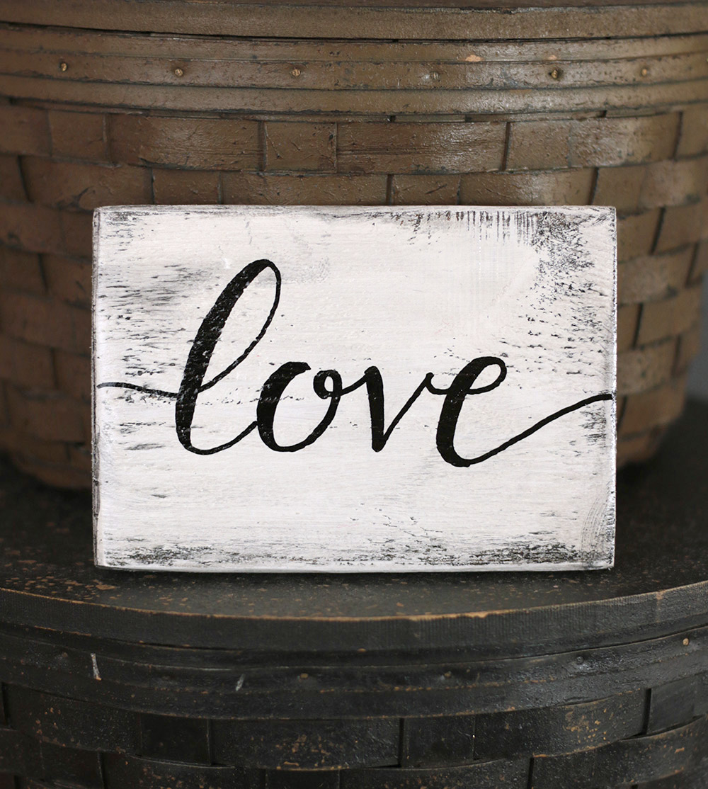 Love distressed wood sign hand painted in mill creek wa for Love sign