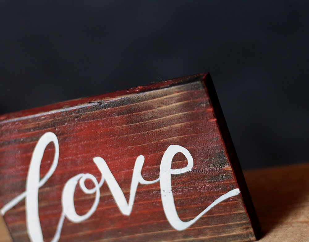 Love wood sign hand painted in the usa by our backyard for Love sign