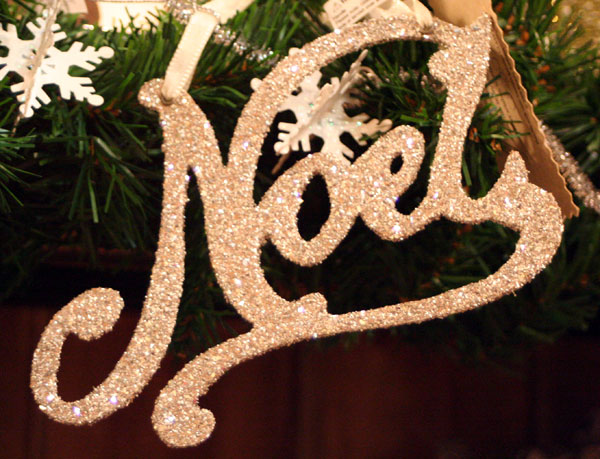 Silver Glitter Word Ornaments - Noel