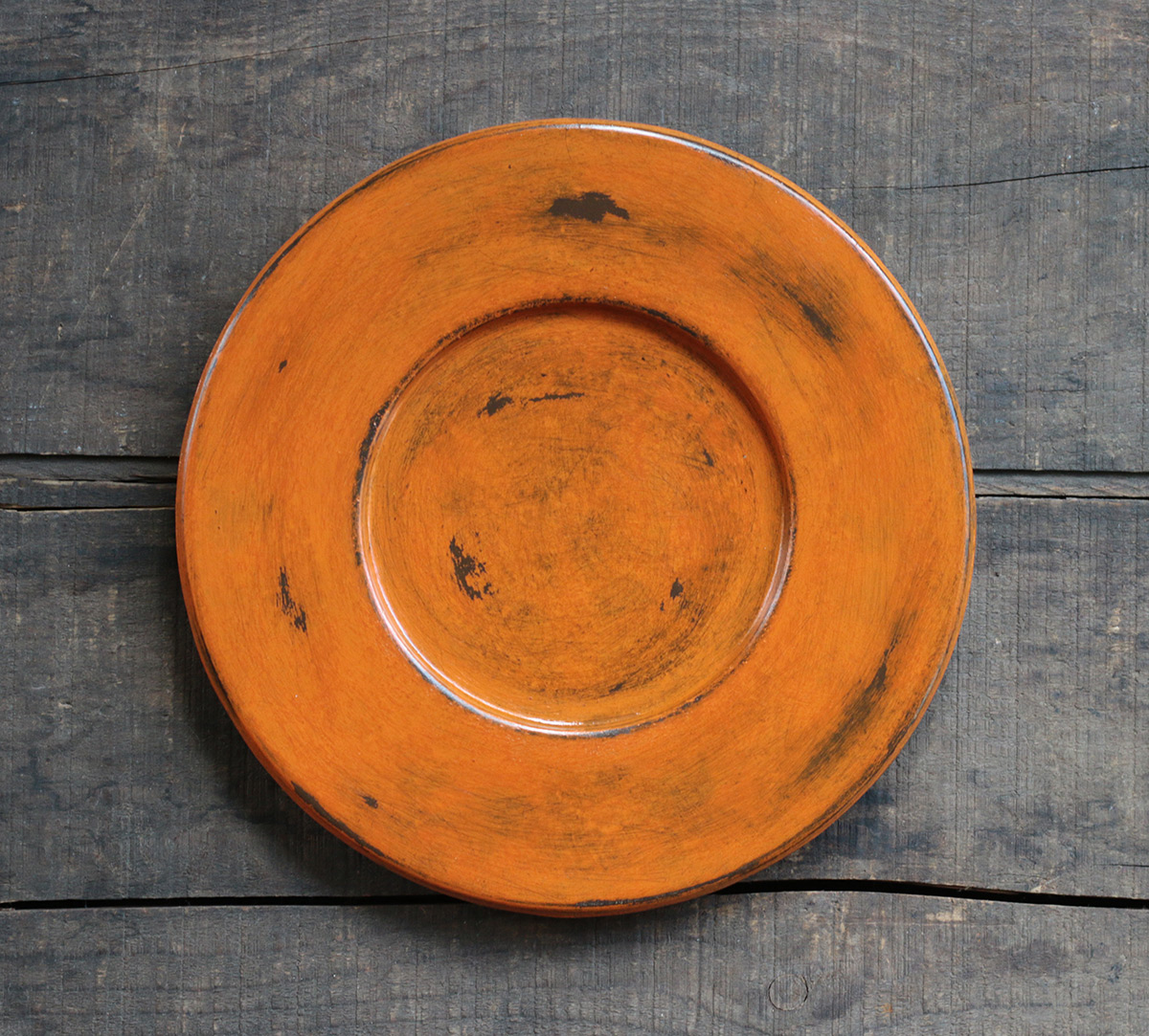 Pumpkin orange distressed wood candle plate hand painted