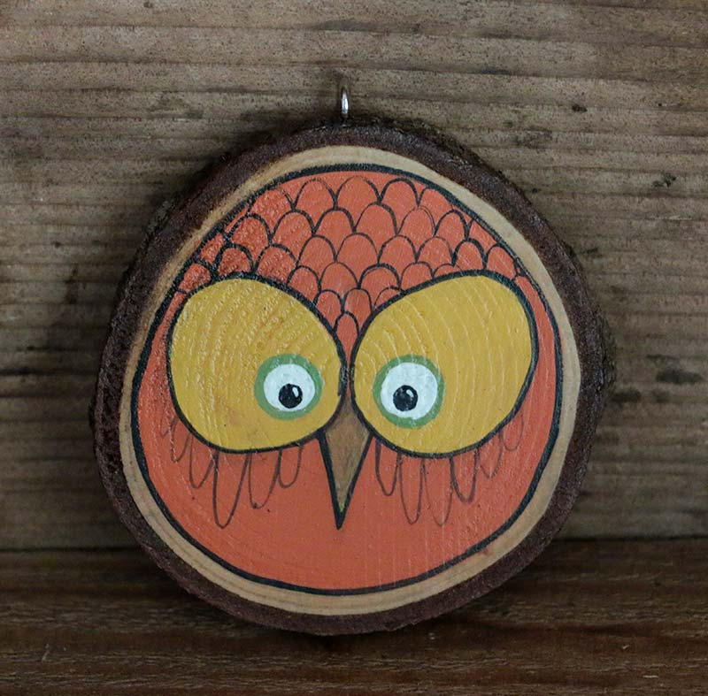 Autumn Owl Hand Painted Wood Slice Ornament By Our