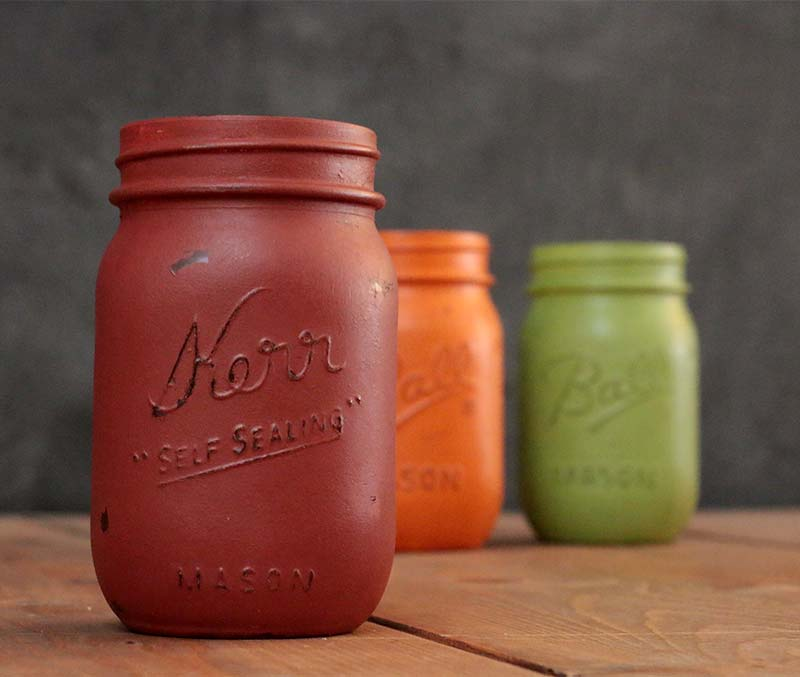 Cinnamon Red Hand-Painted Mason Jar, by Our Backyard Studios in Mill Creek, WA