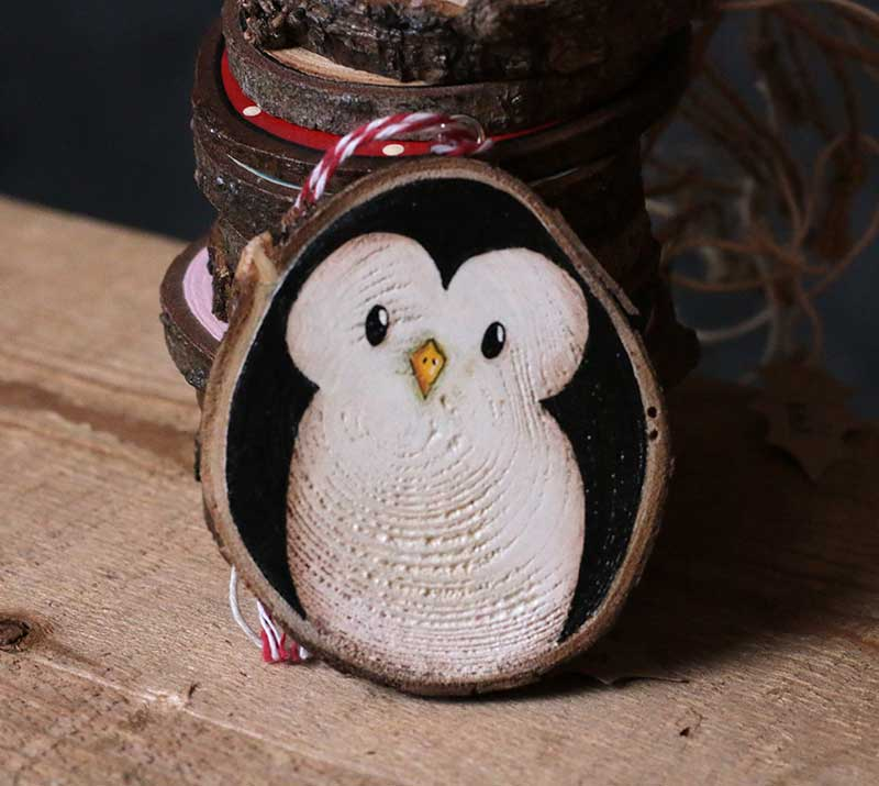 Penguin hand painted wood slice ornament by our backyard studio in mill creek wa the weed patch - How to make a snowman out of wood planks ...