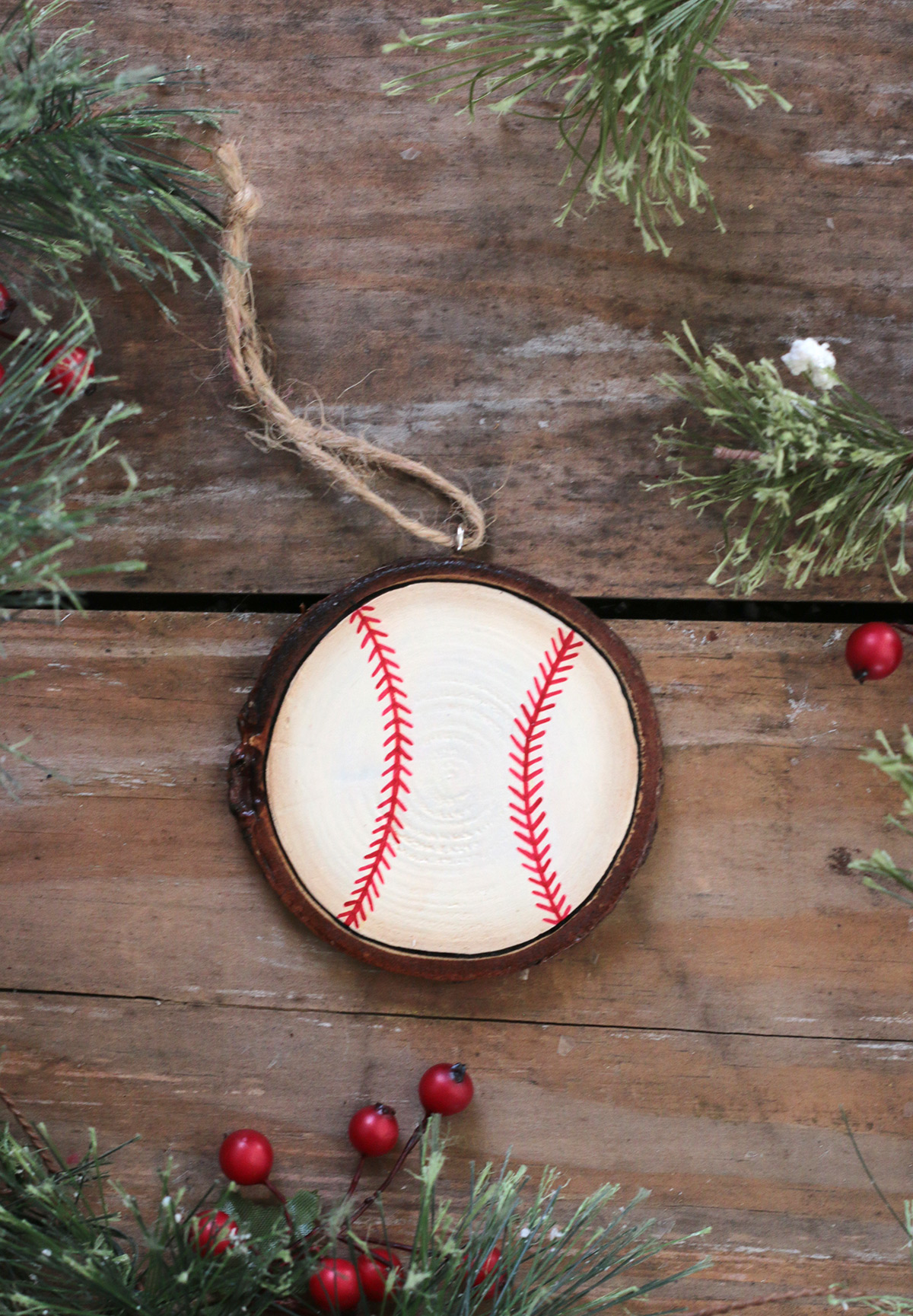 Baseball Hand Painted Wood Slice Ornament By Our Backyard