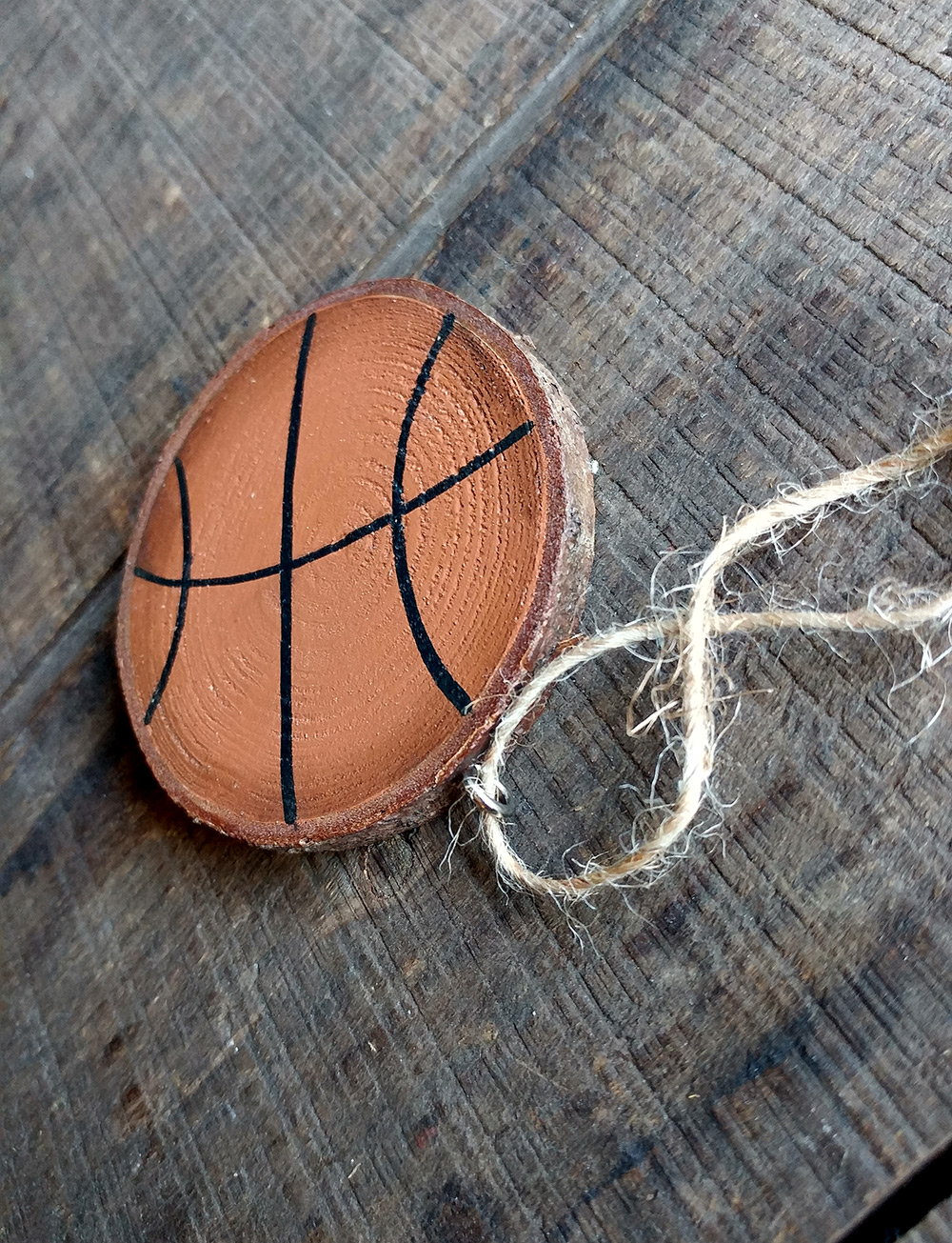 Basketball Hand Painted Wood Slice Ornament By Our