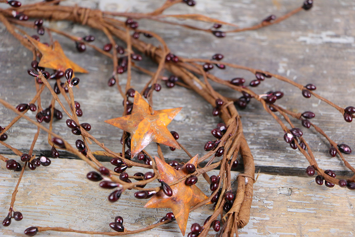 Burgundy Pip Berry & Rusty Star Garland, by Olivia's Heartland