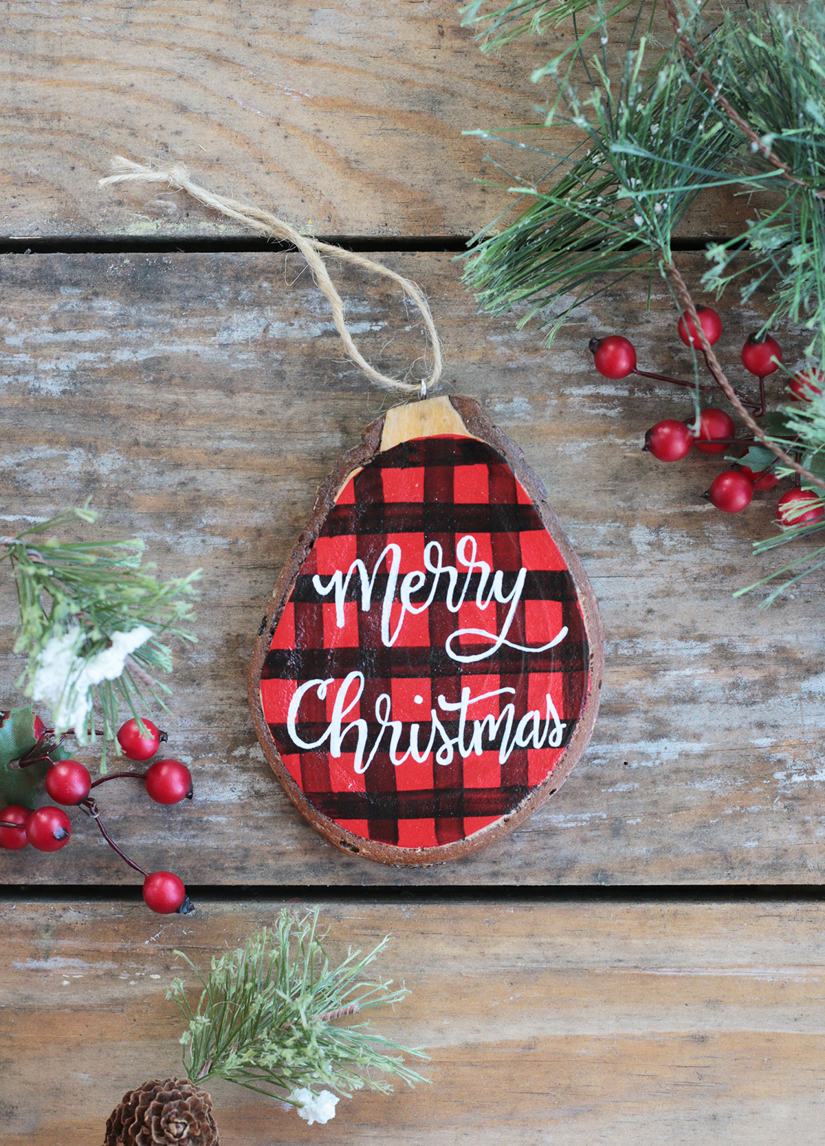 Buffalo Plaid Christmas Wood Slice Ornament The Weed Patch