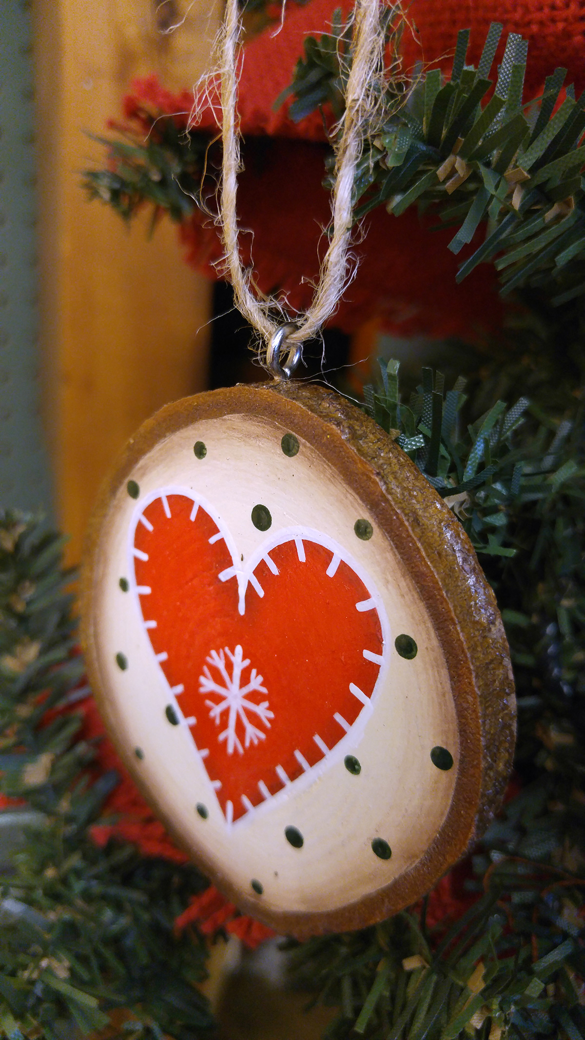 Red Nordic Heart Ornament Wood Slice Ornament The Weed Patch