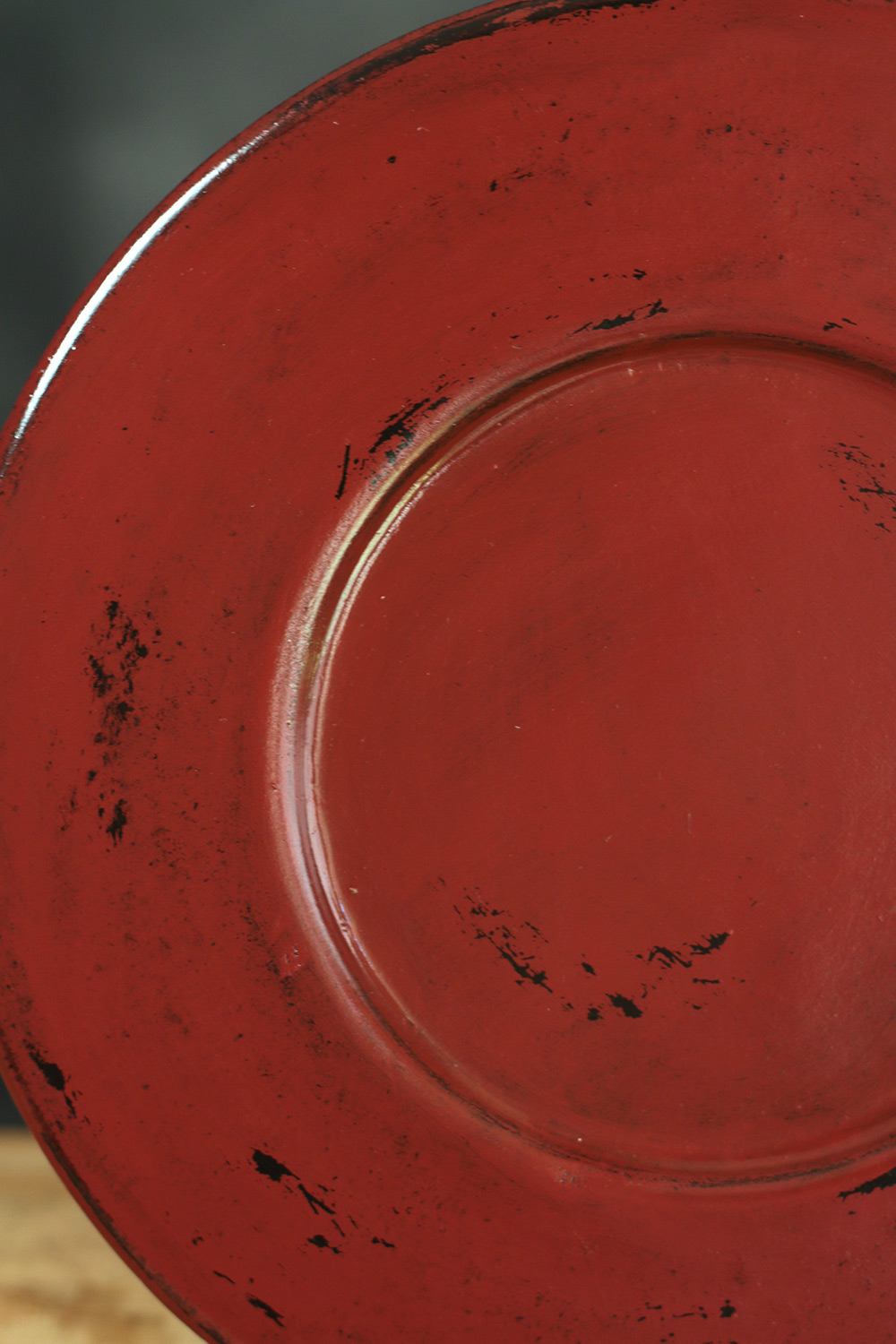 Burnt Red Distressed Wood Candle Plate Hand Painted In