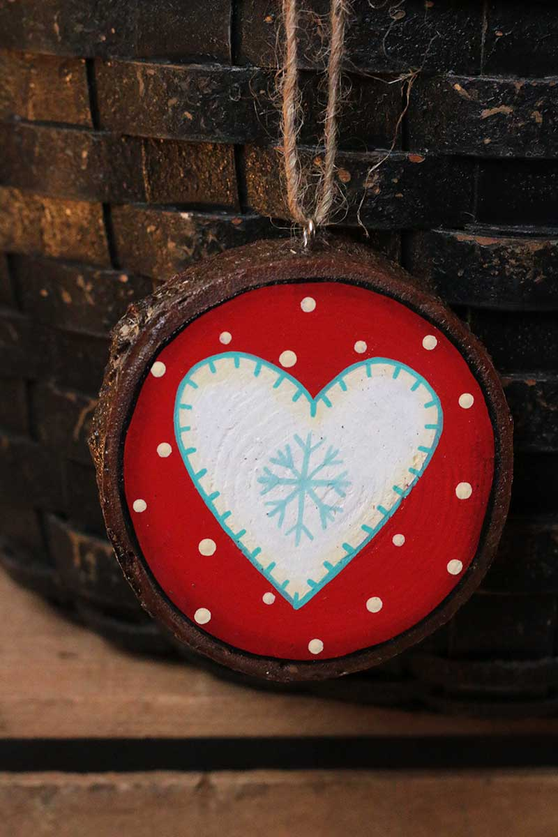 Nordic Heart Ornament Hand Painted Wood Slice Ornament By