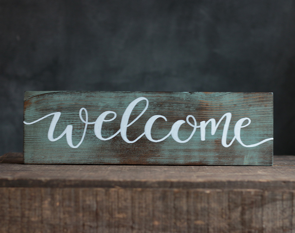 welcome sign wood hand lettered teal painted options weed creek patch
