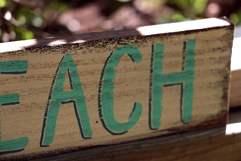White and Teal Beach Sign, by Our Backyard Studio in Mill Creek, WA.