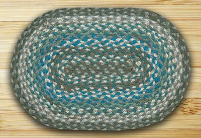 Sage, Ivory, Settler's Blue Braided Tablemat (10 x 15 inch)