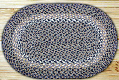 Blue & Natural Oval Jute Rug (Special Order Sizes)