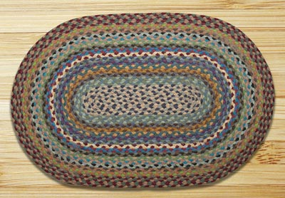 Blue, Violet, and Cream Braided Jute Rug, Oval - 20 x 30 inch