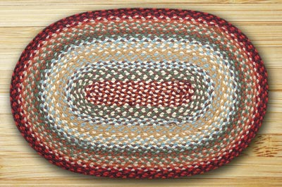 Thistle Green & Country Red Braided Rug, Oval - 27 x 45 inch
