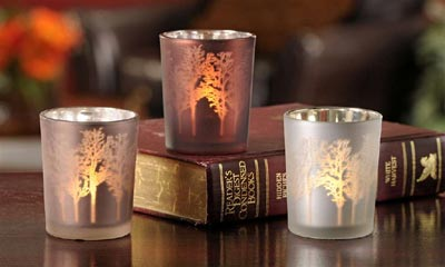 Forest Silvered Glass Votive