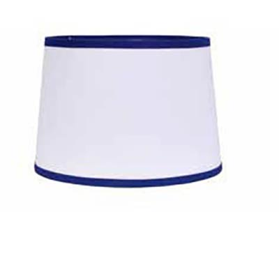 White with Cobalt Trim Drum Lamp Shade - 14 inch