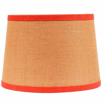 10 inch burlap drum lamp shade with orange trim by raghu. Black Bedroom Furniture Sets. Home Design Ideas