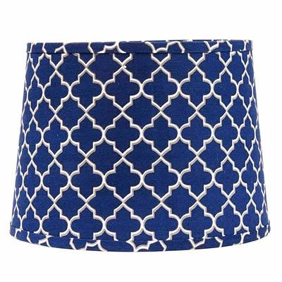 Blue Quatrefoil Drum Lamp Shade - 14 inch