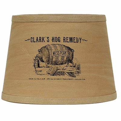 Clark's Hog Remedy Lamp Shade - 10 inch Drum