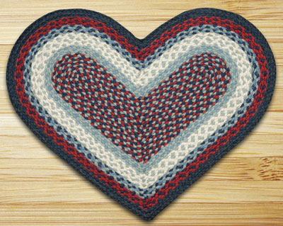 Blue and Burgundy Heart Jute Rug