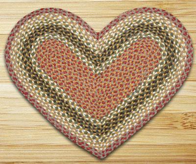 Olive, Burgundy, & Gray Heart Jute Rug