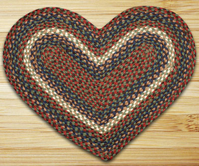Burgundy, Grey, and Blue Heart Jute Rug