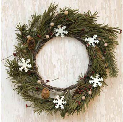 Snowflake & Pine 12 inch Wreath