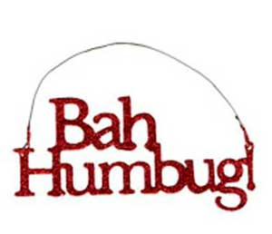 Bah Humbug Glitter Ornament - Red