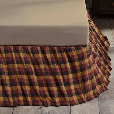 Primitive Check King Bed Skirt