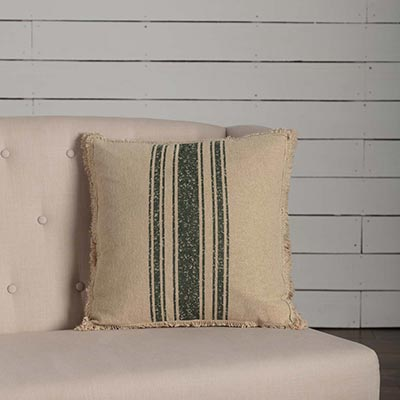 Vintage Burlap Stripe Green Throw Pillow