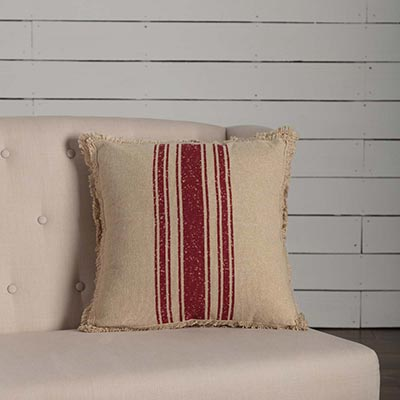 Vintage Burlap Stripe Red Throw Pillow