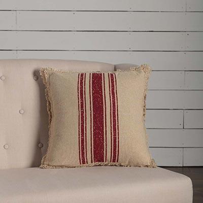 Vintage Burlap Stripe Red Throw Pillow
