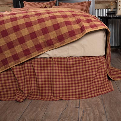 Burgundy and Tan Check Bed Skirt - Twin