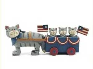 Americana Cat and Wagon