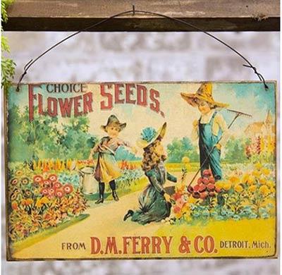 Flower Seeds Vintage Sign