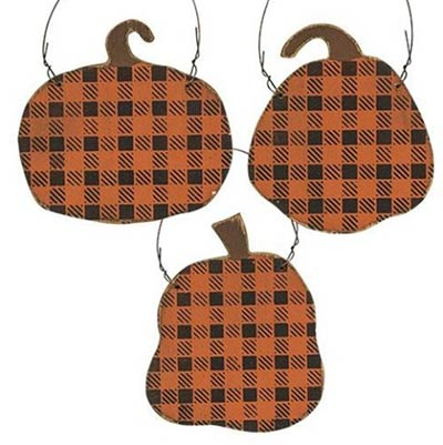 Buffalo Check Pumpkin Ornaments ( Set of 3)