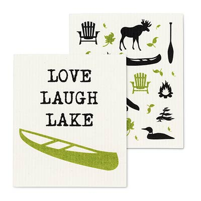 Lake & Canoe Swedish Dish Cloths (Set of 2)