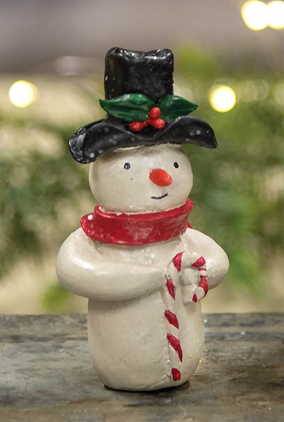 Snowman with Top Hat & Candy Cane