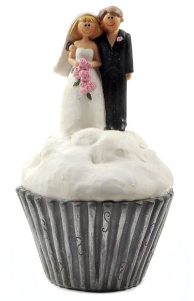 Bride and Groom on Cupcake
