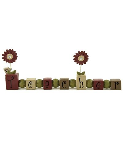 Teacher Bead Block with Jeweled Flowers