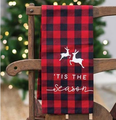 Tis the Season Buffalo Check Dishtowel
