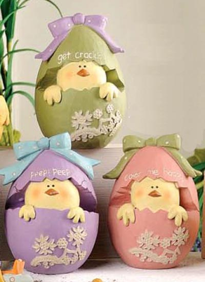 Chick in Easter Egg with Polka Dot Bow