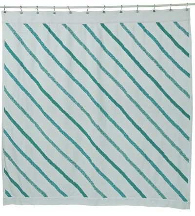 Sea Glass Ruffled Burlap Shower Curtain