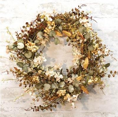 Cream Mixed Fall Wreath 22 inch Wreath