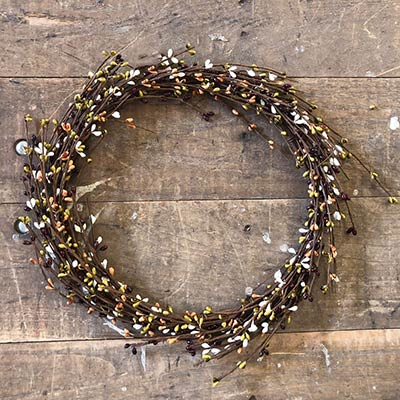 Burgundy, Olive, Tea Stain, Cream Pip Berry Wreath (16 inch)