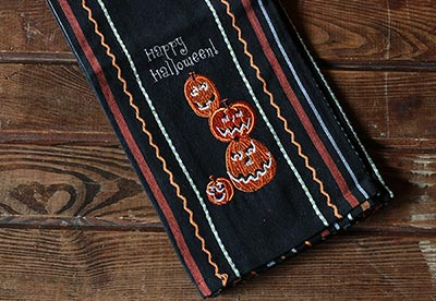 Happy Halloween Embroidered Dishtowel