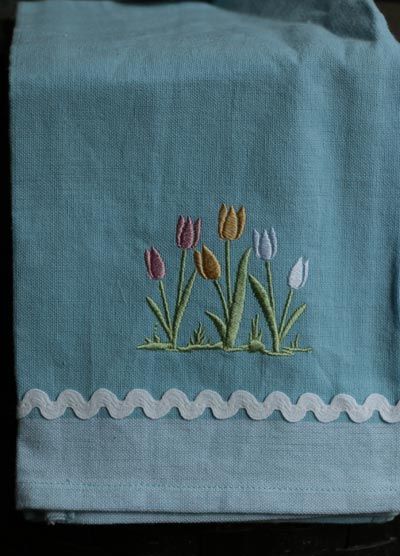 Tulips Embroidered Dishtowel